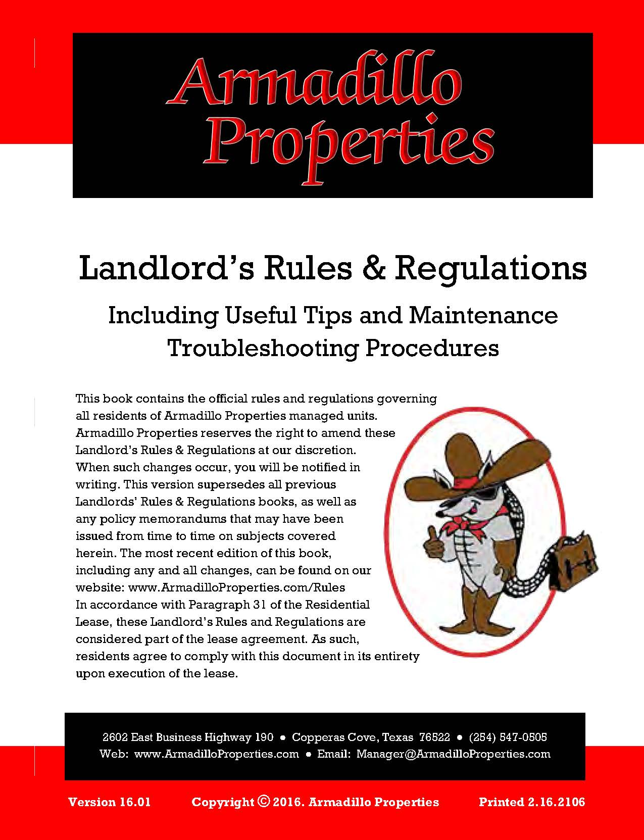 Landlord's Rules and Regulatiosn Link